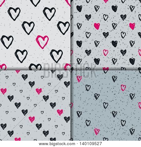 Doodle seamless pattern set with hearts. Hand-drawn vector Black white and pink seamless backgrounds. Valentine day ornament.
