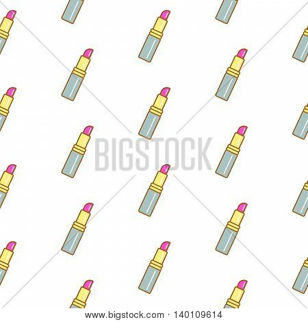 Lipstick line icon seamless pattern. Outline thin cosmetic icons for website background or wrapping paper.
