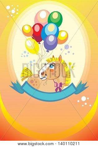 Colorful holiday background with balloons and pony. Vector