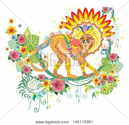 Vector art of isolated decor indian monkey