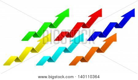 Arrows. Colored set. Indication arrows. Up arrows statistic financial graphic. Vector illustration isolated on white background.