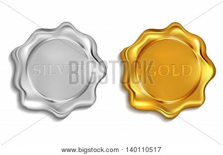 blank wax seal available input any text. vector illustration .