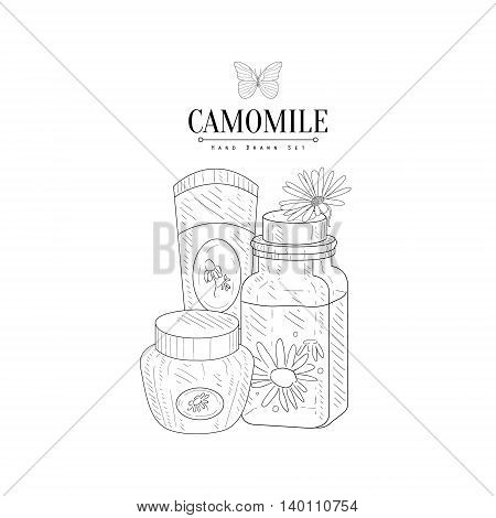 Camomile Natural Cosmetics Hand Drawn Realistic Detailed Sketch In Classy Simple Pencil Style On White Background