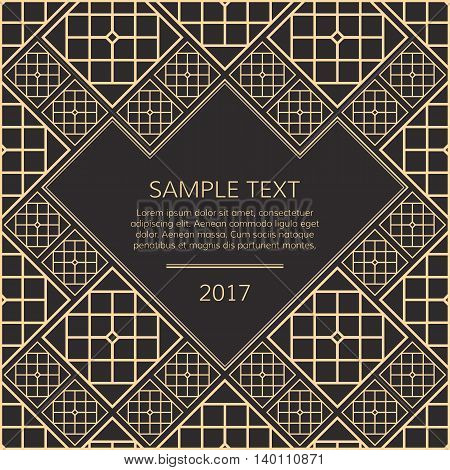 Vector geometric frame in oriental style. Golden vector template for design. Light golden vector frame. Premium vector frame in luxury style. Gold vector frame.