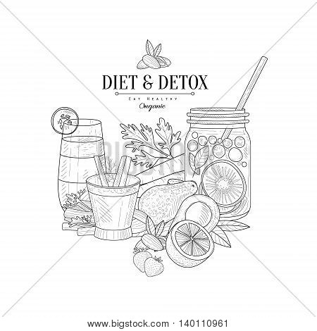 Detox And Diet Fresh Food And Drink Hand Drawn Realistic Detailed Sketch In Classy Simple Pencil Style On White Background