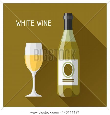 Bottle and glass of white wine in flat design style.