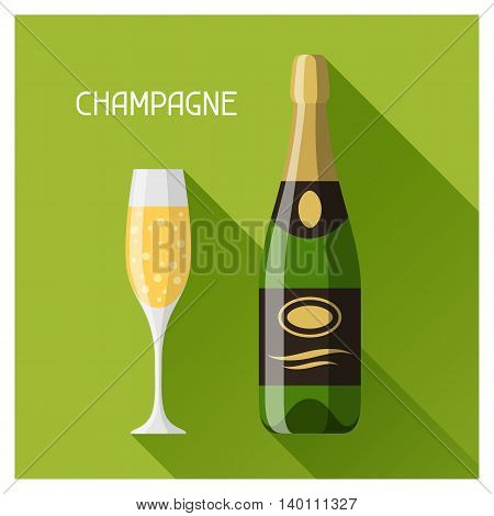 Bottle and glass of champagne in flat design style.