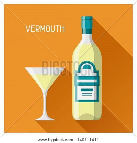 Bottle and glass of vermouth in flat design style.