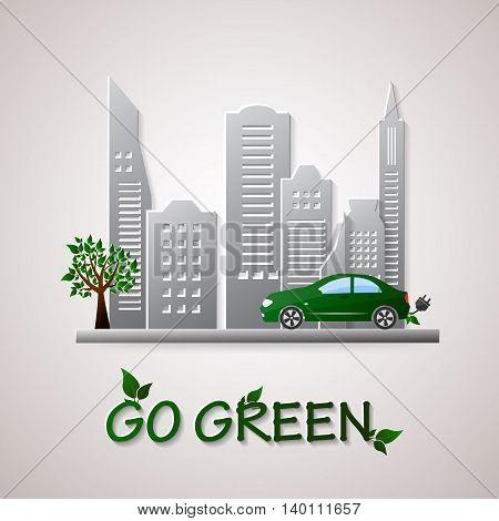 Go green design template. Environment vector illustration