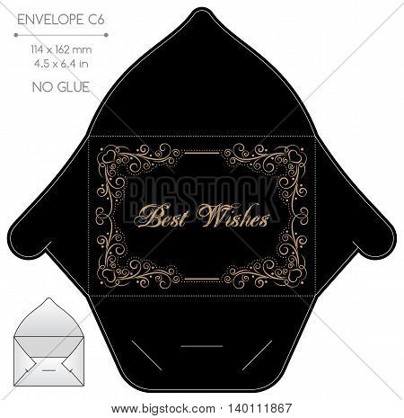 Envelope template with die cut. No glue. Retro style gold design with lace frame.