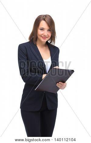 Full-length portrait of businesswoman keeping folder