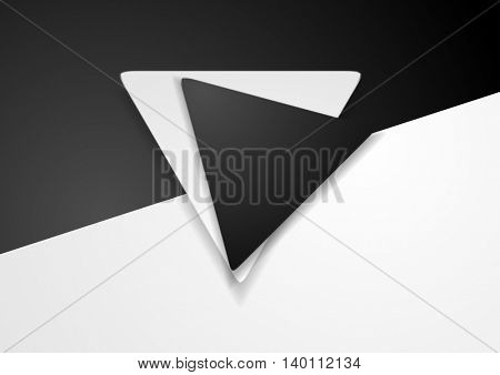Black and white corporate geometric background with triangle label. Vector illustration
