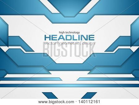 Abstract blue shiny tech layout concept background. Vector brochure design