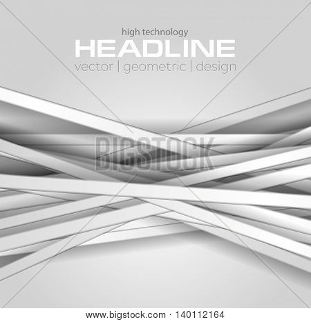 Abstract grey tech background with stripes. Vector light color illustration