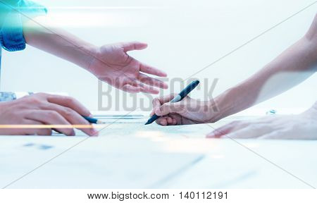 Business People Meeting To Discuss The Situation On The Market, Businessman And Businesswoman Talk A
