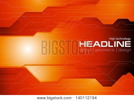 Dark orange hi-tech concept background. Vector corporate graphic design