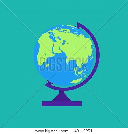 Globe isolated on green background. map of world. vector illustration in flat style