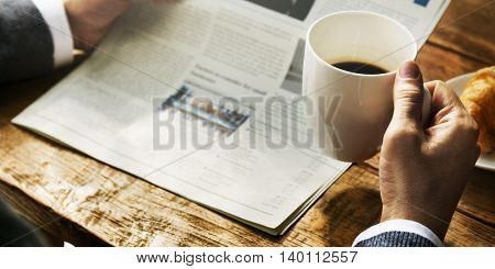 Businessman Working Reading Newspaper Information Concept