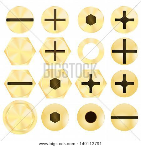 Screw head and rivet. Vector illustration isolated on white background.