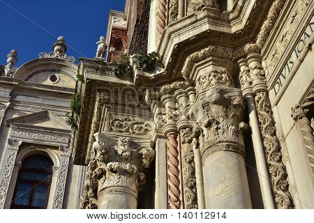 Beautiful gothic decoration of Saints John and Paul medieval portal in Venice