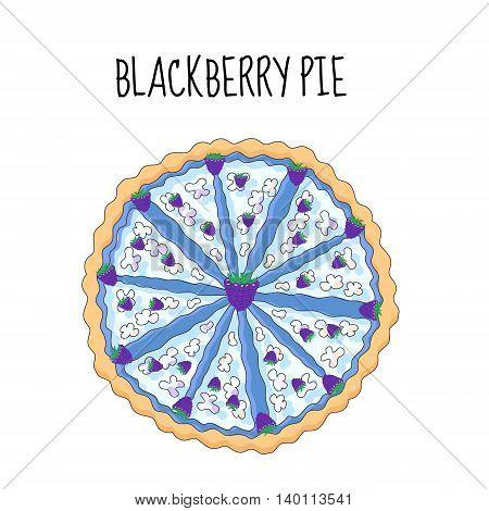 Blackberry cake birthday cake. Baking with blackberries. vector illustration