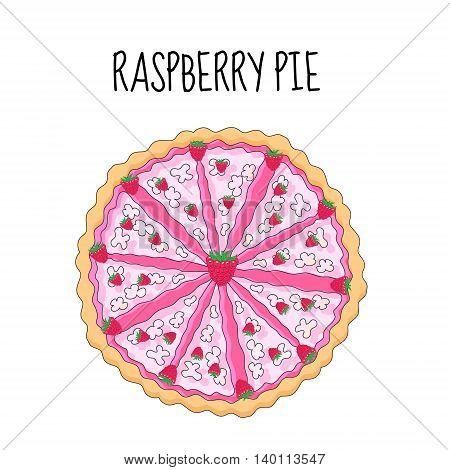 Raspberry cake birthday cake. Baking with raspberries. vector illyustration