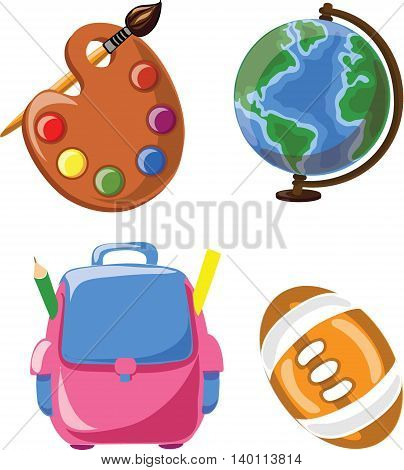 Cartoon school icons, vector illustration for school background