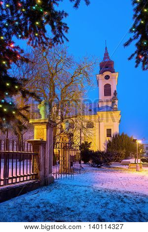 Catholic church with Christma tree in the Christmastime