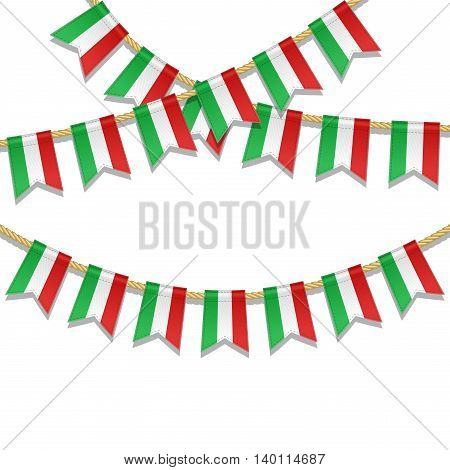Vector colorful bunting decoration in colors of italian flag. Garland pennants on a rope for party carnival festival celebration. Vector illustration for National Day of Italy on 2 June