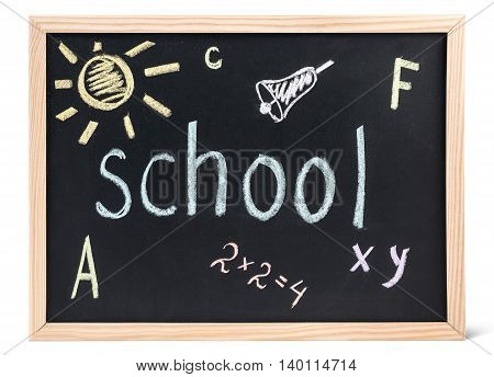 Blackboard in wooden frame with inscriptions in colorful chalk