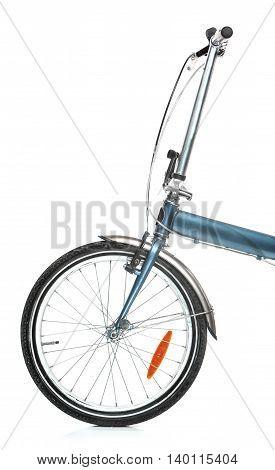 The new modern urban folding bike on white background