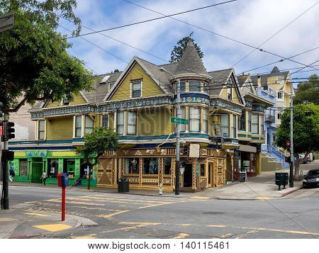 Painted Ladies victorian houses in San Francisco USA