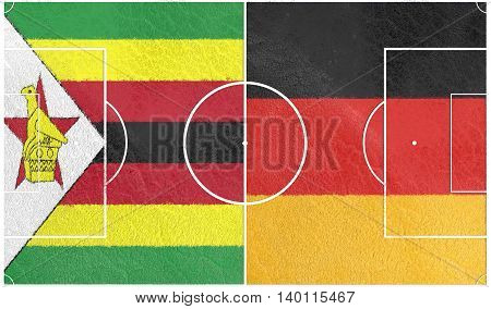 Flags of countries participating to the football tournament. Football field textured by Zimbabwe and Germany national flags.3D rendering
