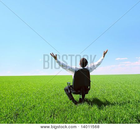 Young businessman sitting in chair on green field