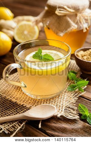 Ginger Root Tea With Lemon, Honey And Mint
