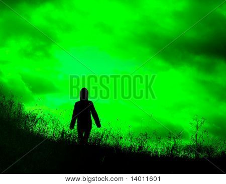 Silhouette on green background