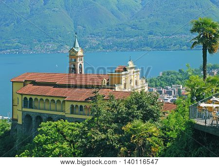 the famous Church called Madonna del Sasso in Locarno at Lake Maggiore,Ticino Canton,Switzerland