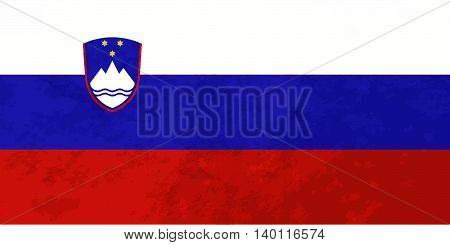 True proportions Slovenia flag with grunge texture
