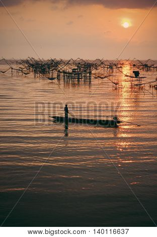 Fisherman life scene with square dip net in Phatthalung province Thailand