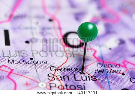 Cerritos pinned on a map of Mexico