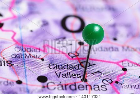 Ciudad Valles pinned on a map of Mexico