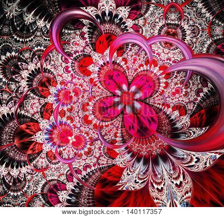 Abstract fractal floral lace background. A fractal is a natural phenomenon or a mathematical set that exhibits a repeating pattern that displays at every scale.