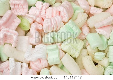 Pink, White and Green Packing Peanut Foam