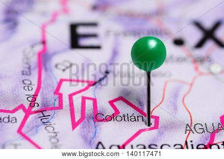 Colotlan pinned on a map of Mexico