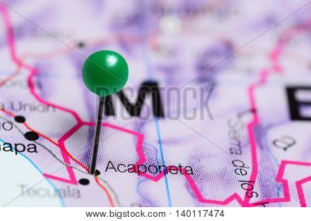 Acaponeta pinned on a map of Mexico