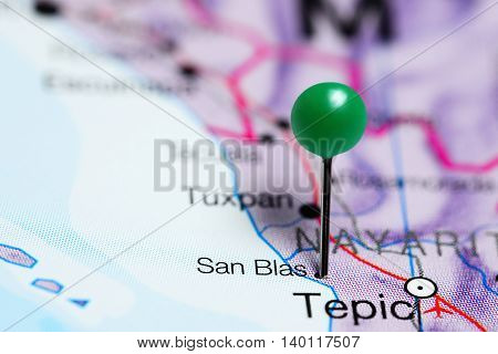 San Blas pinned on a map of Mexico