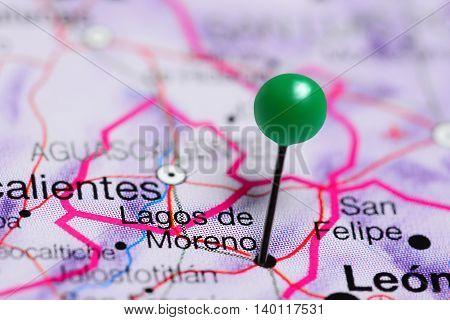 Lagos de Moreno pinned on a map of Mexico