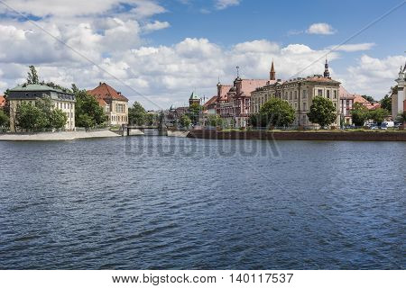 Wroclaw, Poland - July 07, 2016: Overall View On Sand Island (wyspa Piasek) On The Oder River In Wro