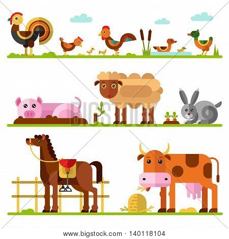 Flat vector geometric illustration set of farm or domestic animals. Turkey, hen and rooster with chicks, family of ducks, goose, pig in puddle of mud, sheep, rabbit and carrots, cow, horse in paddock