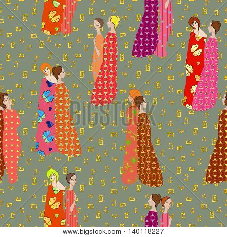 Girls Draped patterned fabrics seamless pattern on patterned background